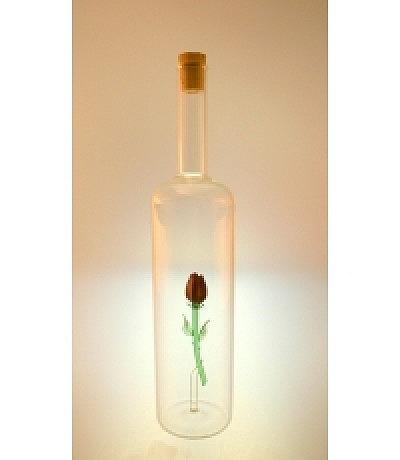 Flasche mit Rose farbig