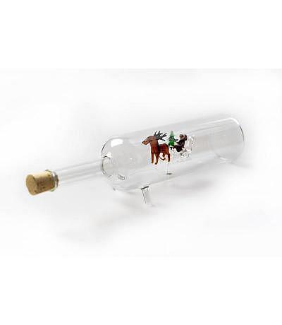 Flasche mit Weihnachtsmann und Renntiere 500ml