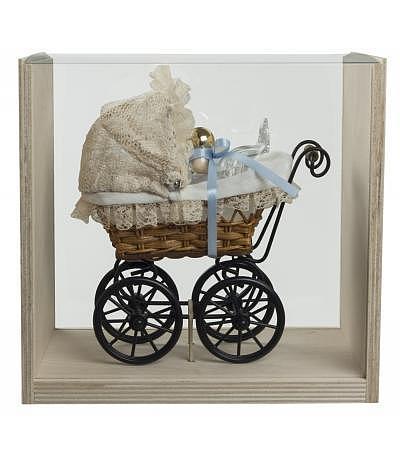Kinderwagen mit Baby blau 100ml